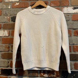 DISTRESSED WHITE CABLE KNIT SWEATER